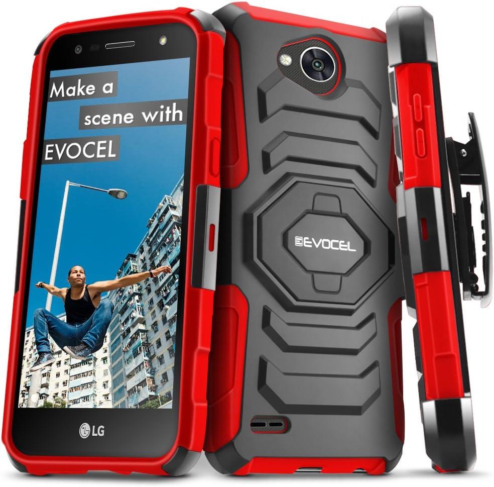 LG X Power 2 / LG X Charge/LG Fiesta 2 / LG Fiesta LTE Case, Evocel [New Generation Series] Belt Clip Holster, Kickstand, Dual Layer for LG Fiesta LTE / M327 / L63BL / L64VL / US701, Red