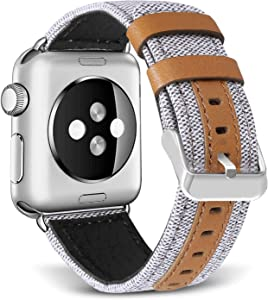 SKYLET Compatible with Apple Watch Bands 44mm 42mm 40mm 38mm Leather Bands, Canvas Fabric Soft Wristbands Compatible with Apple Watch Series 6/5/4/3/2/1/se Men Women Creamy White