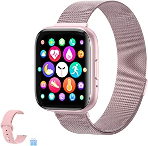 Sebay Smart Android Watch, Fitness Tracker Watches for Men/Women, Smart Watch for Android Phones/iOS, Blood Pressure Watches for Women, Digital Watch Womens and Step Counter (T99 Rose)