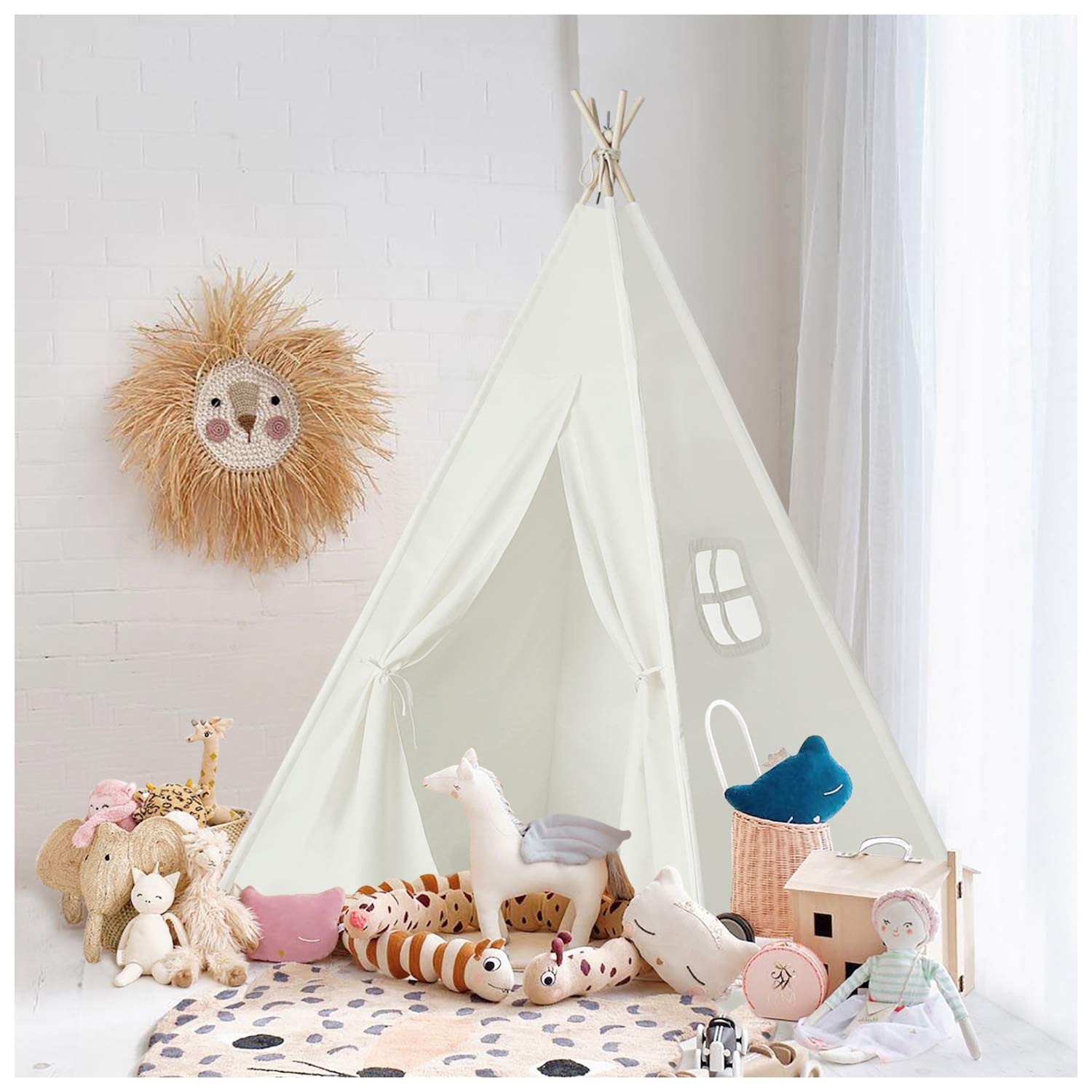 UKadou Kids-Teepee-Tent-for-Kids , Teepee Tent for Boys and Girls, Canvas Fabric Tent with Stabilizer & Pine Wood Poles for Indoor & Outdoor use (White)