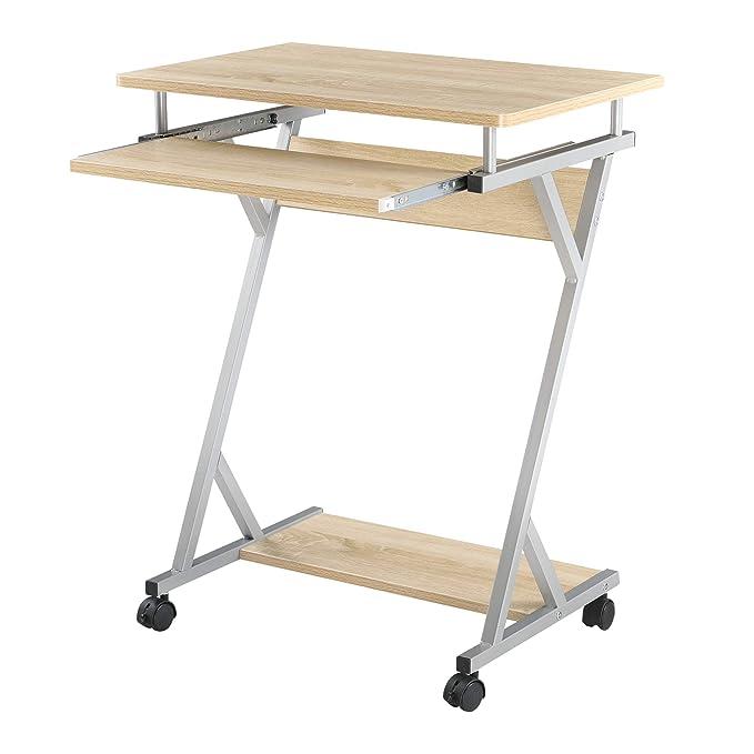 Schreibtisch 60x40x75cm Schwarz Rollbar Computertisch Bürotisch Tisch