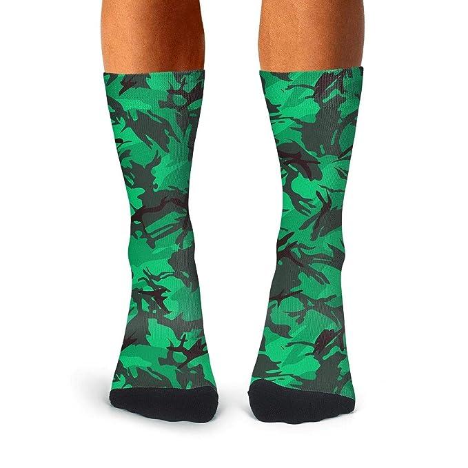 3c8c8785a Amazon.com  Floowyerion Men s Green Army Military Camo Novelty High Sports  Socks Crazy Funny Crew Tube Socks  Clothing