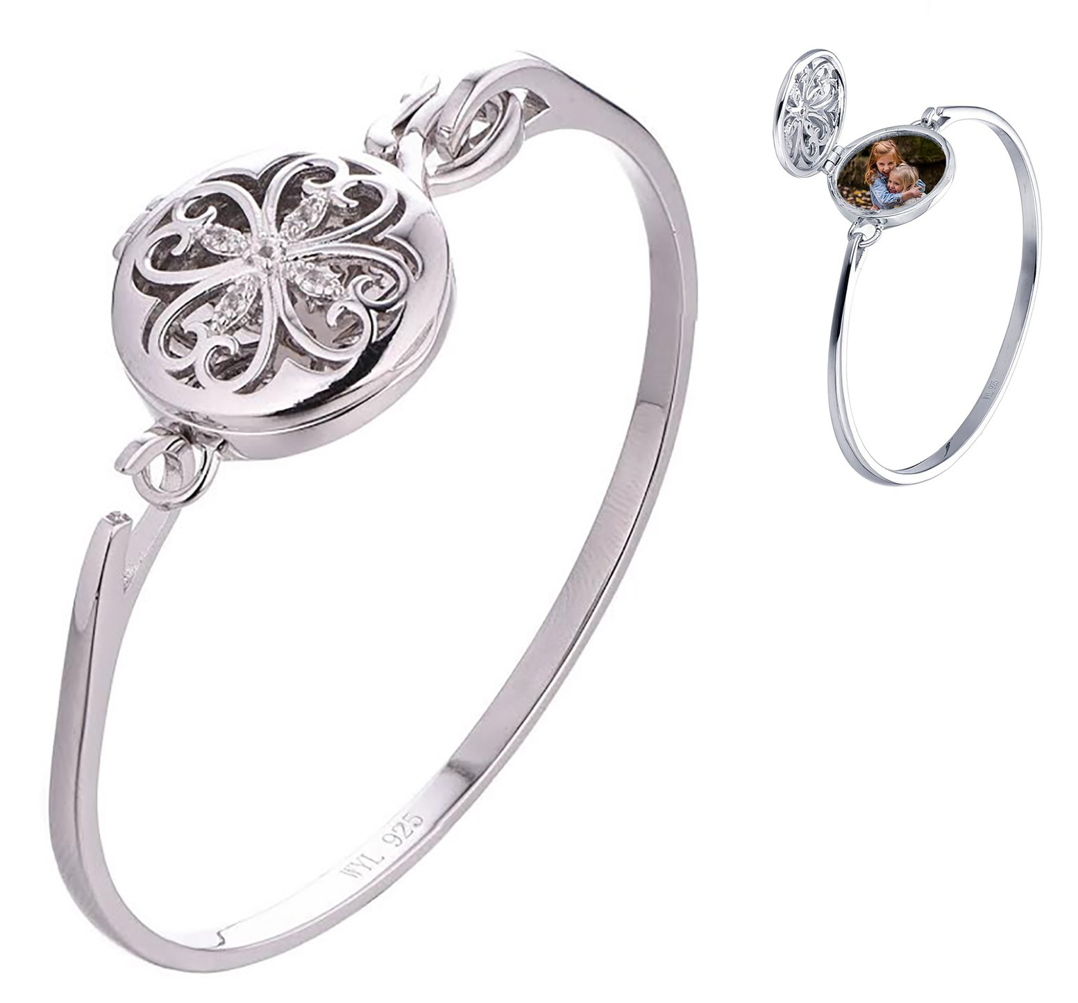 With You Lockets Sterling Silver-Round-Custom Photo Locket- Bangle-Bracelet-The Rosa