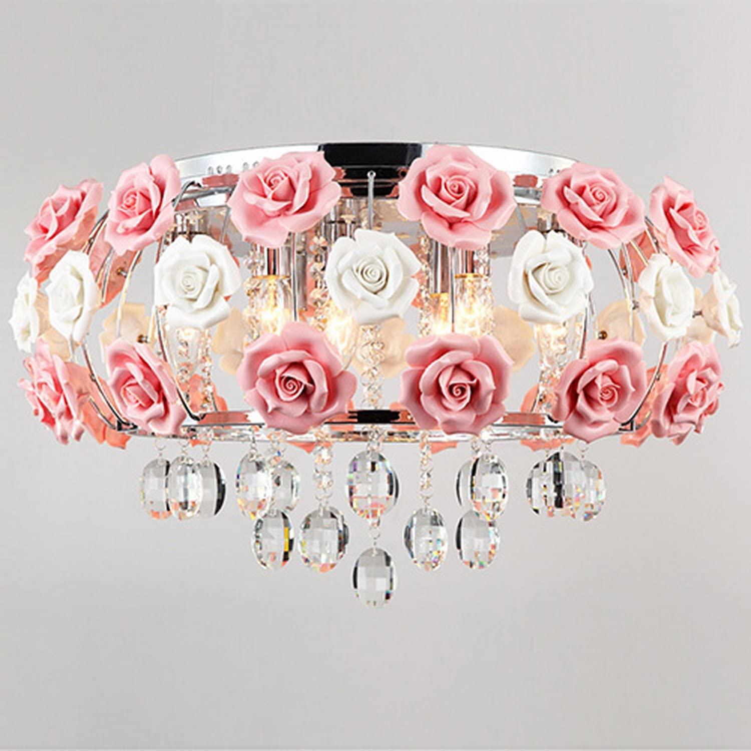 LightInTheBox Ceiling Light s Idyllic Modern Crystal 5 Light Pendant Decorated with Pink Flower Chandelier for Dining Room, Bedroom, Living Room
