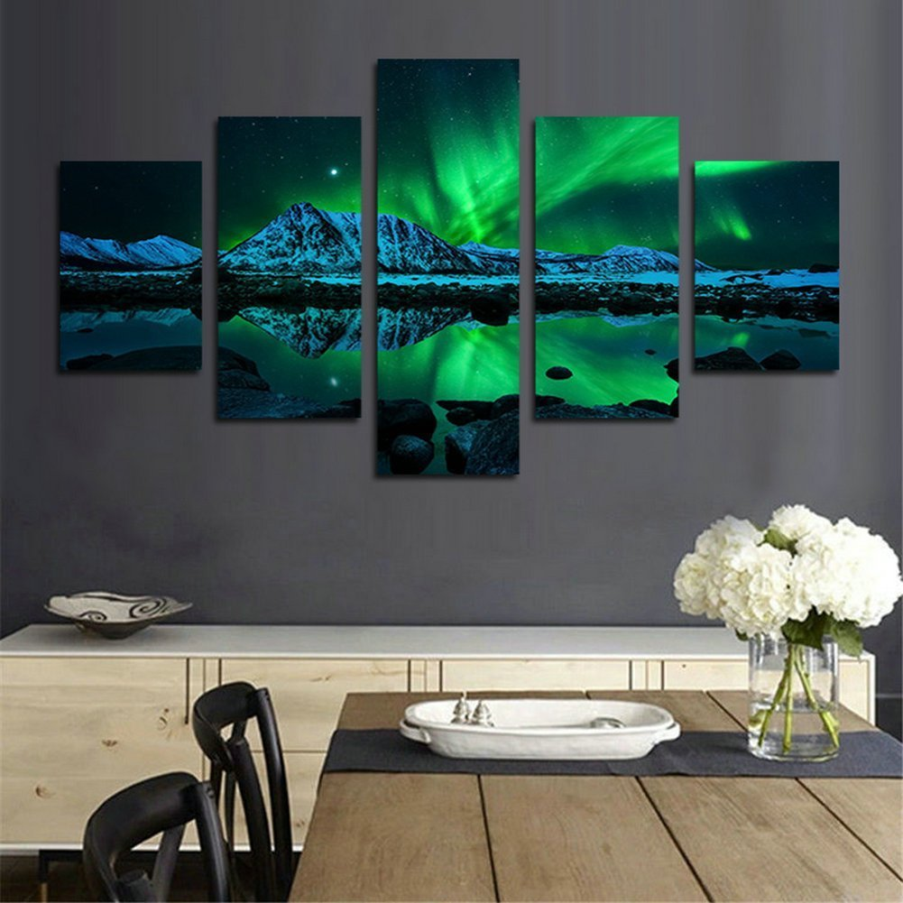 Blxecky DIY 5D Diamond Painting Cross Stitch Crafts Kit, 5 sets of splicing paintings. Home living room decoration. aurora by Blxecky (Image #2)