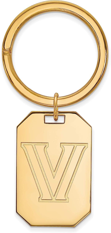 VU Key Chain Sterling Silver w// 14K Yellow Gold-Plated LogoArt Official Licensed Collegiate Villanova University