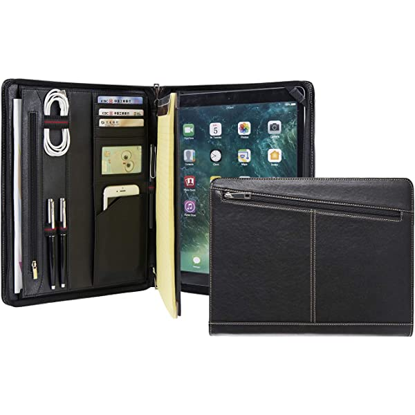 Premium Executive Portfolio Leather Case rooCASE iPad Pro 12.9 Case 2018 Black Support Apple Pencil Charging Document Organizer for Apple iPad Pro 12.9-inch 2018 3rd Generation Detachable Sleeve