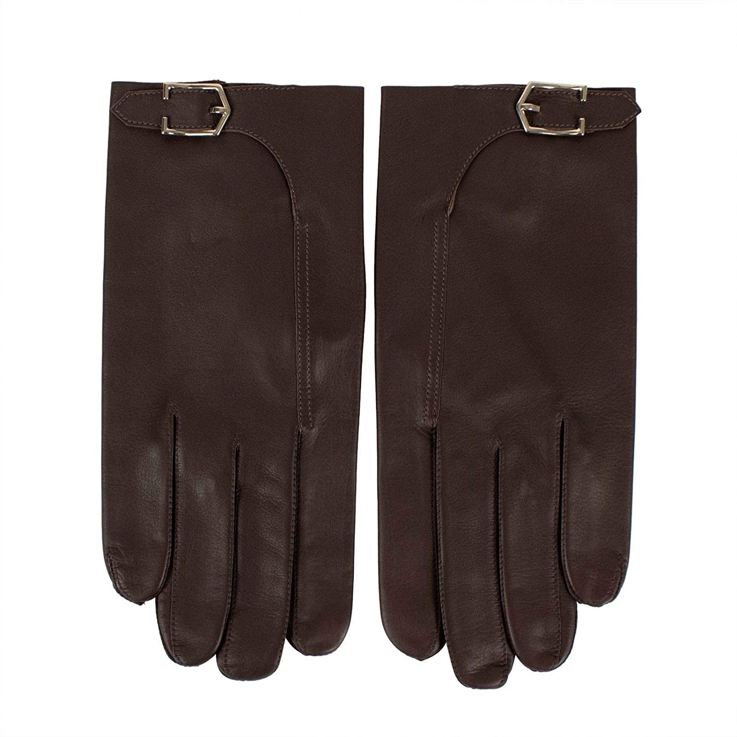 John Lobb MenS Calfskin Leather With Buckle Gloves//Large 9 Brown