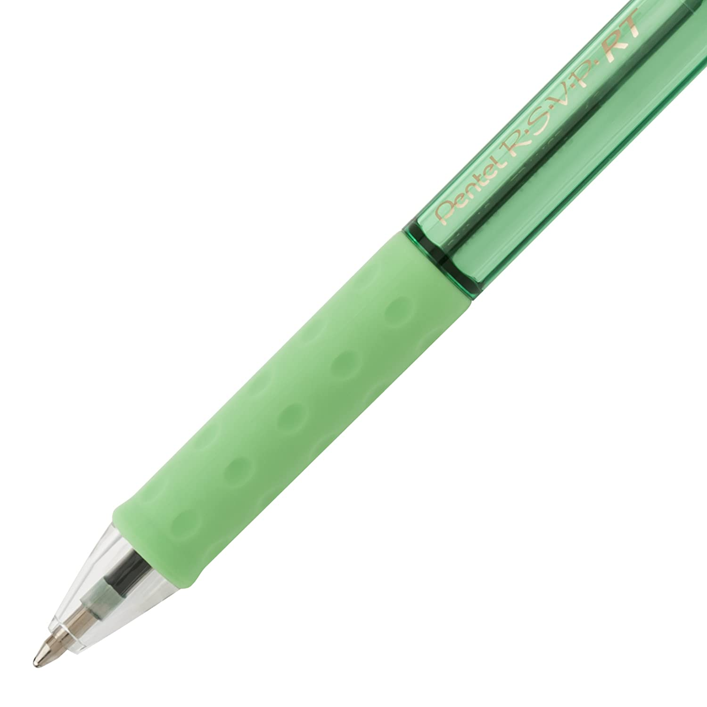 Med 1.0mm Assorted Ink Retractable Ballpoint Pen, RSVP RT Pastel Barrel 6-Pk