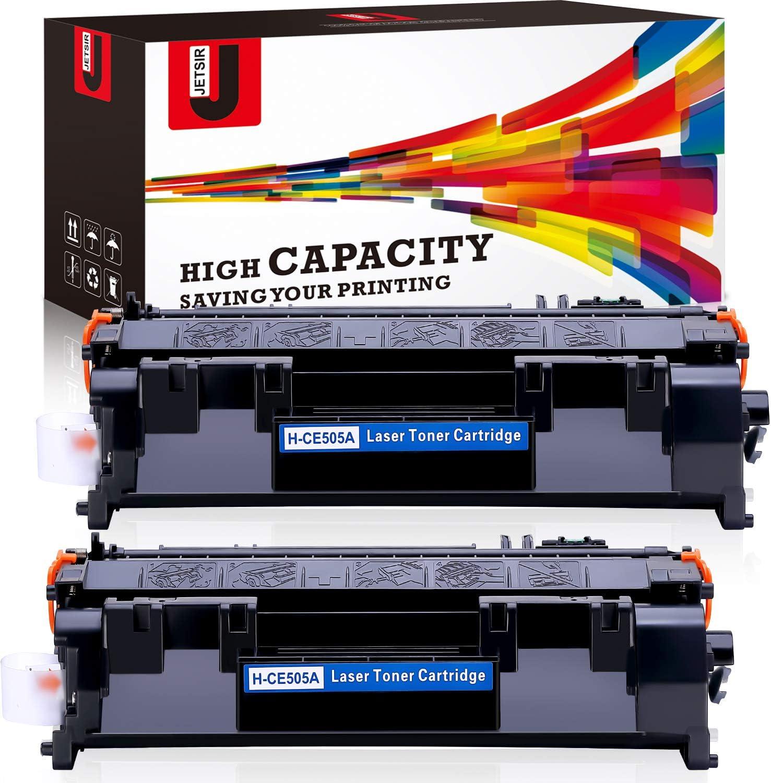JetSir Compatible Toner Cartridge Replacement for HP 05A CE505A 2 Pack, Work with Laserjet P2035 P2055DN P2050 P2035N P2055D P2055 P2055X Laserjet Pro 400 M401 M425 Series Printer