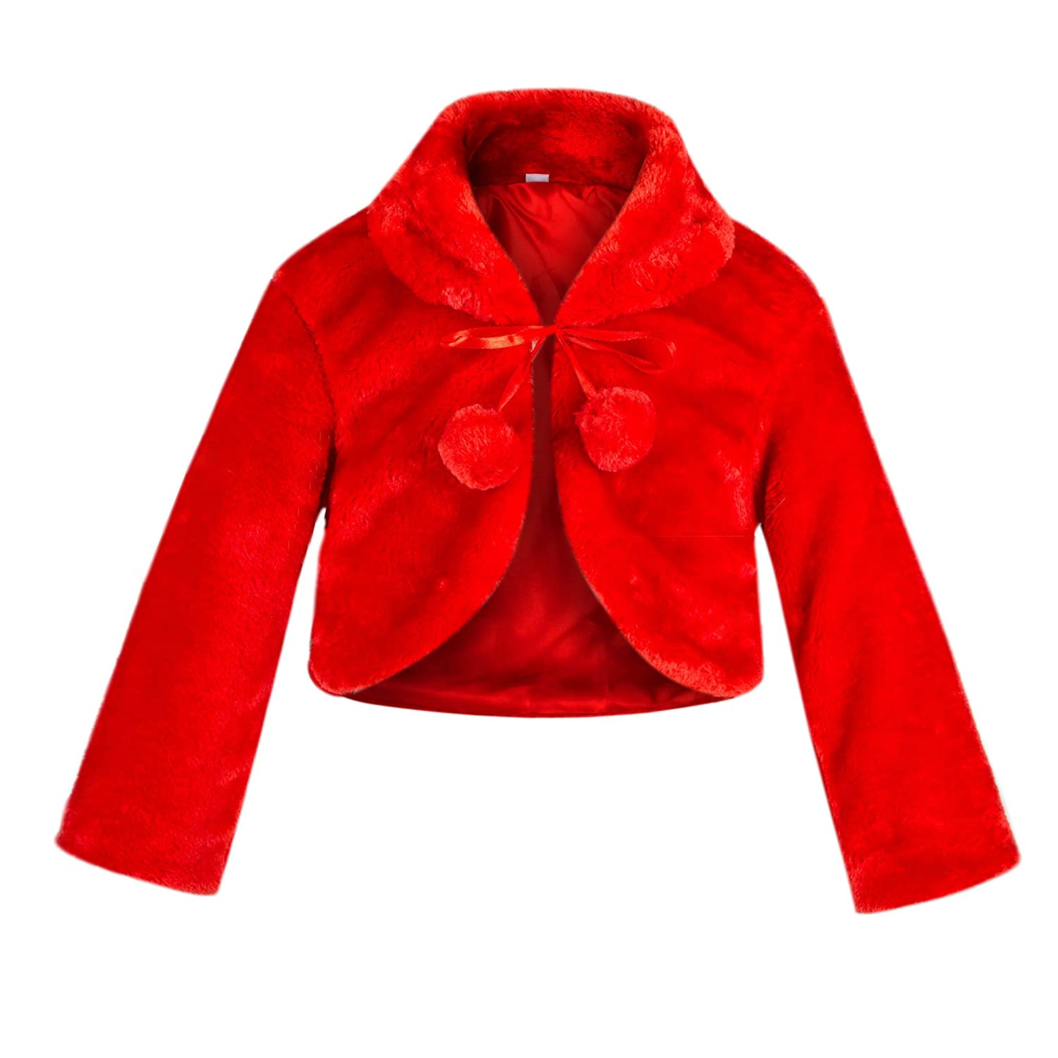 SK Studio Girls Princess Faux Fur Flower Bolero Shrug Party Wedding Dress Up Red SK-PJ-0002-2-2-L