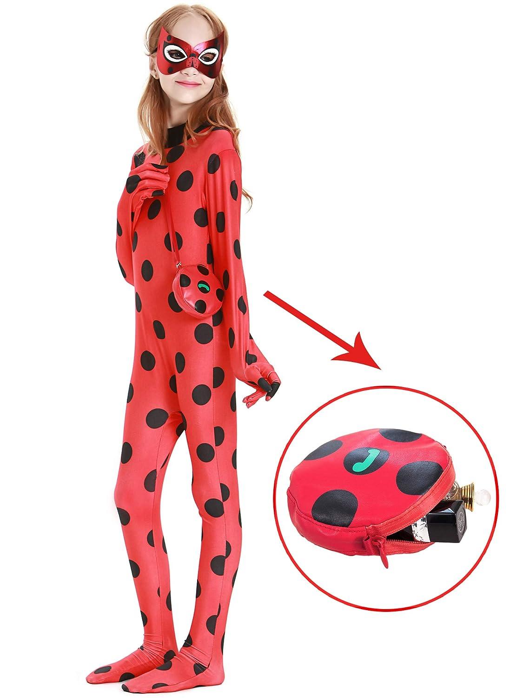 YOSICIL Miraculous Disfraz de Las Aventuras de Ladybug Clásico Disfraz y Accesorios Máscara y Bolso Muñecas Tikki Monos Rojo Bodysuit Trajes de ...