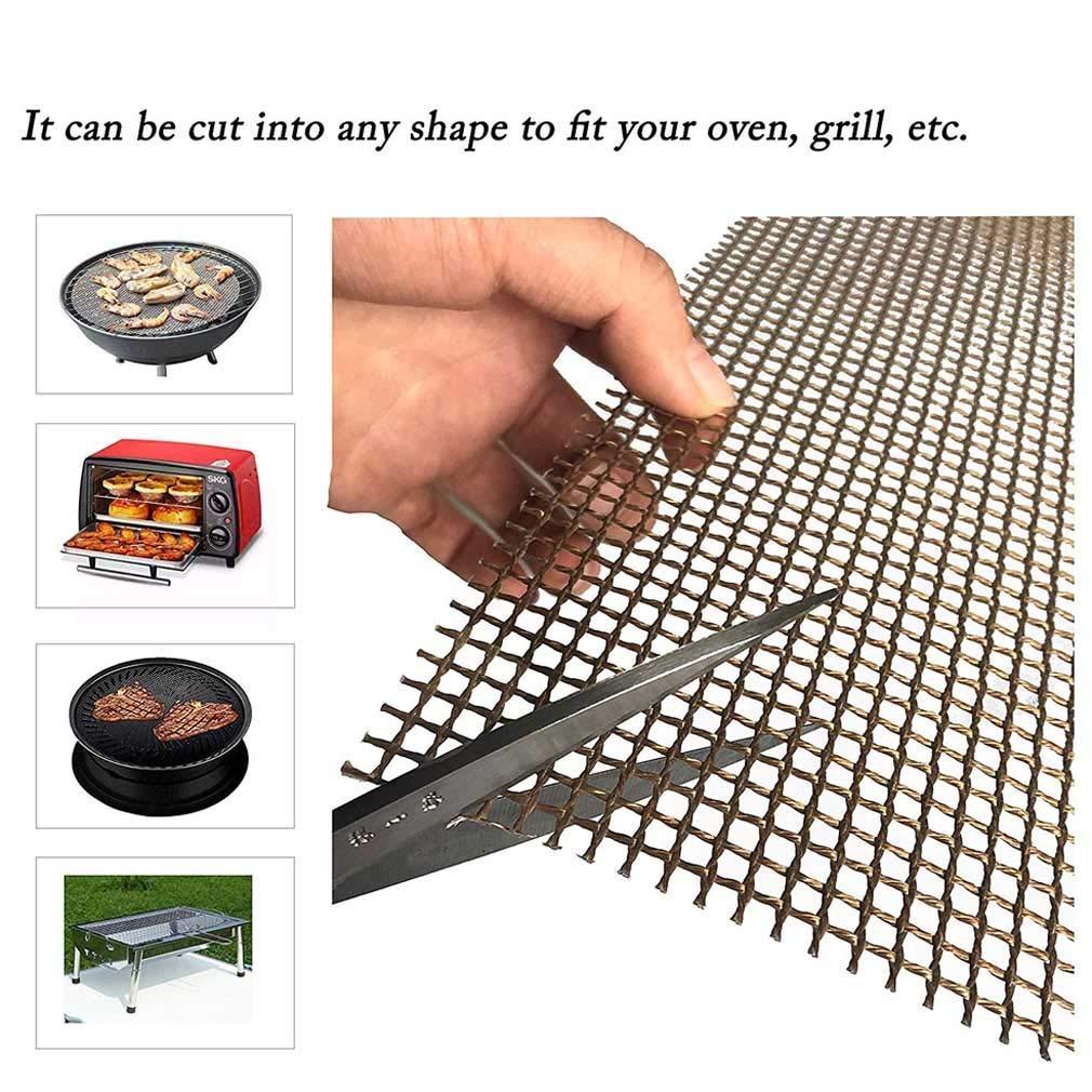 wannaw Mintiml Grill Mat BBQ Grill Mesh Mat Non-Stick Teflon Cooking Sheet Liner Fish 2 pcs Black