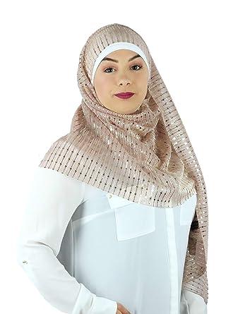 027ebe68716 SAFIYA - Hijab foulard pour femme avec bonnet I Voile musulmane turban  pashmina écharpe châle fête islamique mariage I coton tissé I Doré I  66x180cm  ...