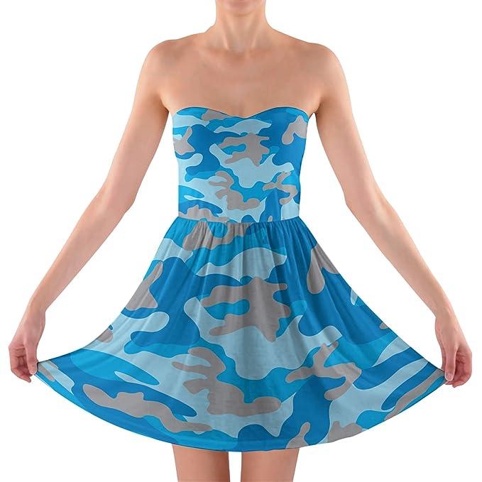 Camuflaje azul brillante sujetador sin tirantes vestido - Azul - : Amazon.es: Ropa y accesorios