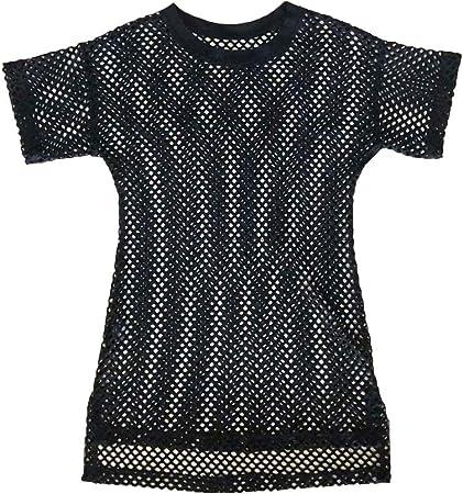 WINJEE, Vestido de Camiseta de Malla Transparente para Mujer, de Manga Corta Crochet, Ahueca hacia Fuera Traje de baño de Rejilla Cúbrete Lado Jersey Extragrande Sudadera Túnica Negro: Amazon.es: Hogar