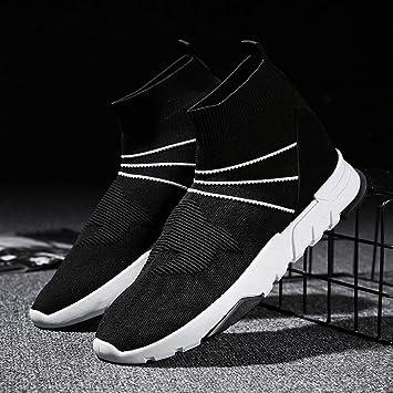 WDDGPZYDX Calcetines de Colores Mezclados Zapatos de tacón Alto Transpirable Stretch Hombre Mocasines Fly Weave Zapatos Casuales Zapatos de Hombre ...