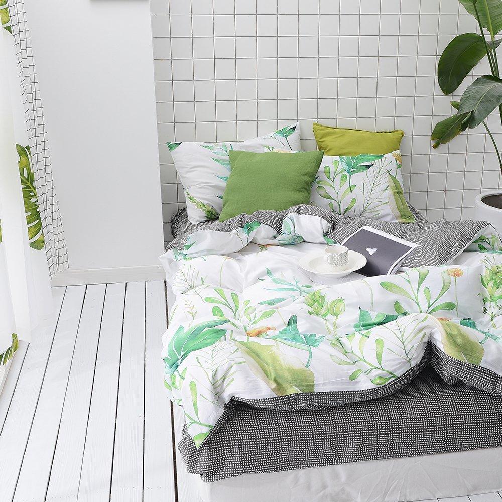 MKXI Soft Cotton Reversible Duvet Cover Tropical Green Leaf Botanical Print Bedding Set Queen