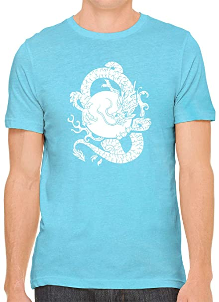 dc8521cb White Chinese Dragon Unisex Premium Crewneck Printed T-Shirt Tee, Aqua XS