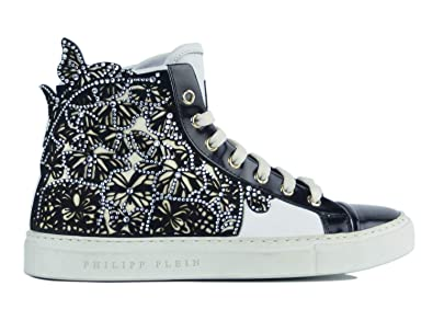 8b3f3f1a5e Image Unavailable. Image not available for. Color: Philipp Plein Womens  Embellished Dalila High Top Sneakers White