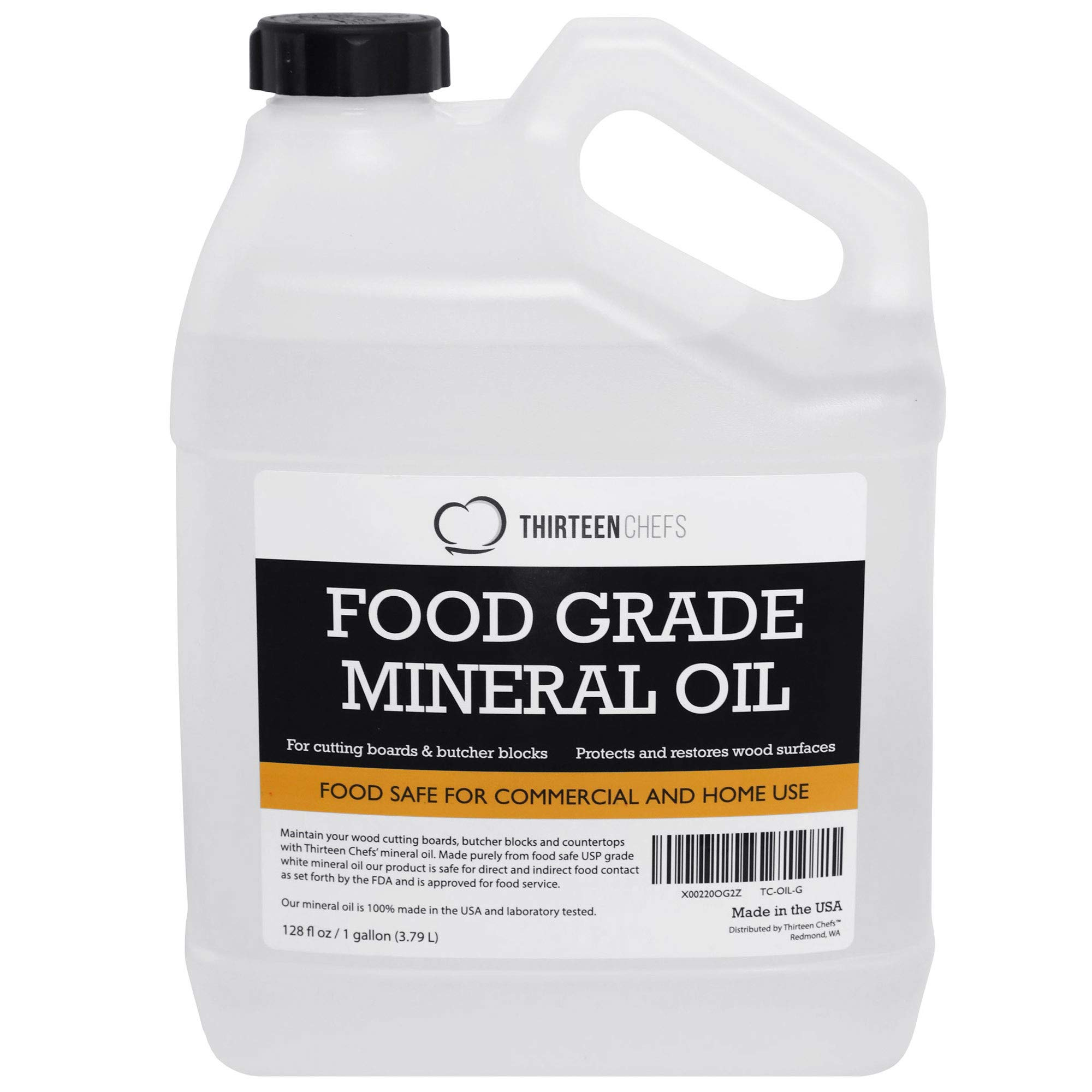 Food Grade Mineral Oil for Cutting Boards, Countertops and Butcher Blocks, Food Safe and Made in The US 128oz, 1 Gallon by Thirteen Chefs