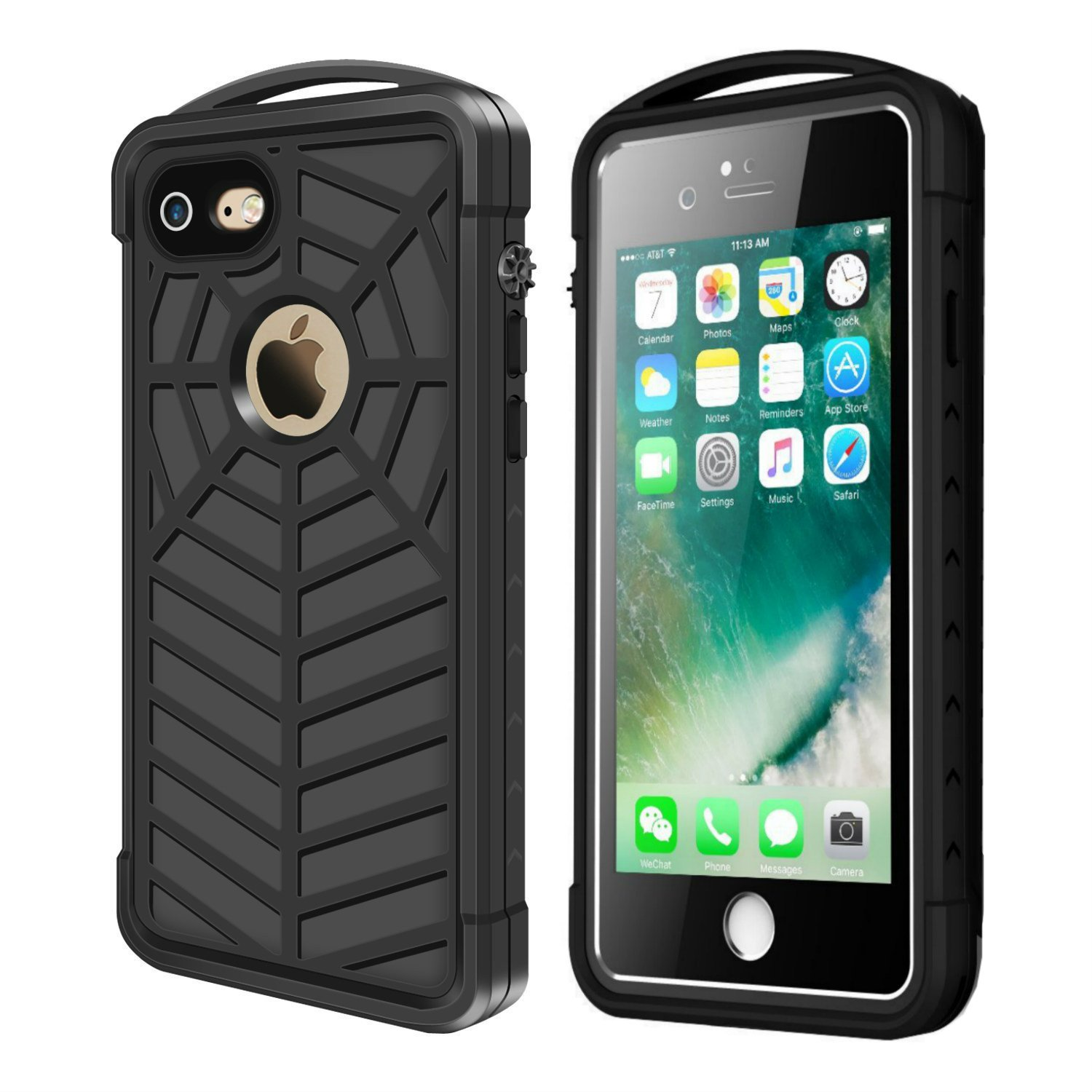 iThrough iPhone 7 8 Waterproof Case, iPhone 7 Underwater Case With Spiderweb Design, Sensitive touch screen, Full Sealed Sport outdoor Case Cover with Portable Hook for iPhone 7/8(4.7 Inch) (Black)