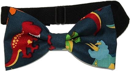 Dinosaur Bow tie Mini Dinosaurs Colorful Dinos on White Pre-tied Bow tie