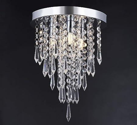 Jaycomey Mini Crystal Chandelier Modern Crystal Flush Mount Ceiling Light Lamp,3 Lights Chandelier Lighting Fixture for Aisle,Hallway,Corridor,Living room,Bedroom