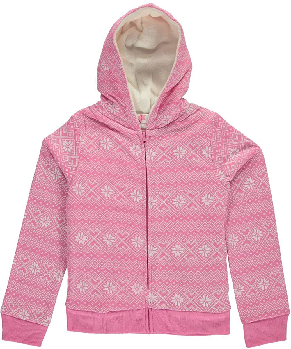 Dream Star Big Girls' Plush Snowflakes Hoodie 10-12