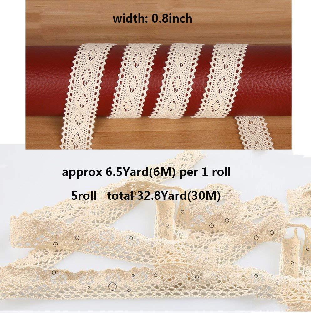 white Susuntas 10 Yards 1/2 Inch Wide Cotton Lace Trim DIY Craft ...