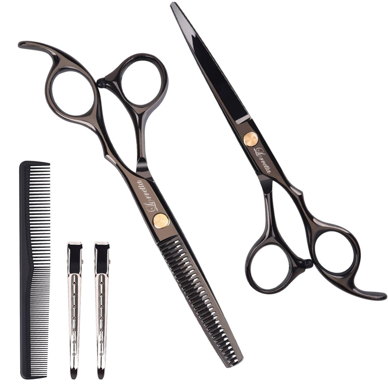 Professional Hair Scissors, Lorretta Barber Scissors Set 6''(155mm) for Thinning and Shaping Salon Scissors/Hairdressing Scissors Shears, Black