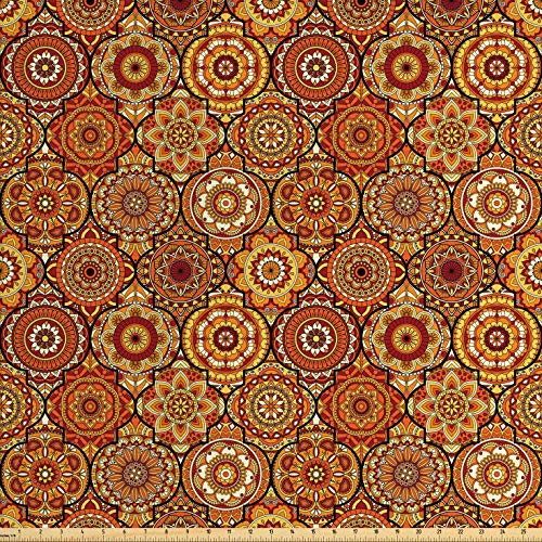 Ambesonne Moroccan Fabric by The Yard, Vintage Hand Drawn Style Ottoman Figures Ancient Trellis Floral Motifs, Decorative Fabric for Upholstery and Home Accents, 1 Yard, Orange Yellow ()