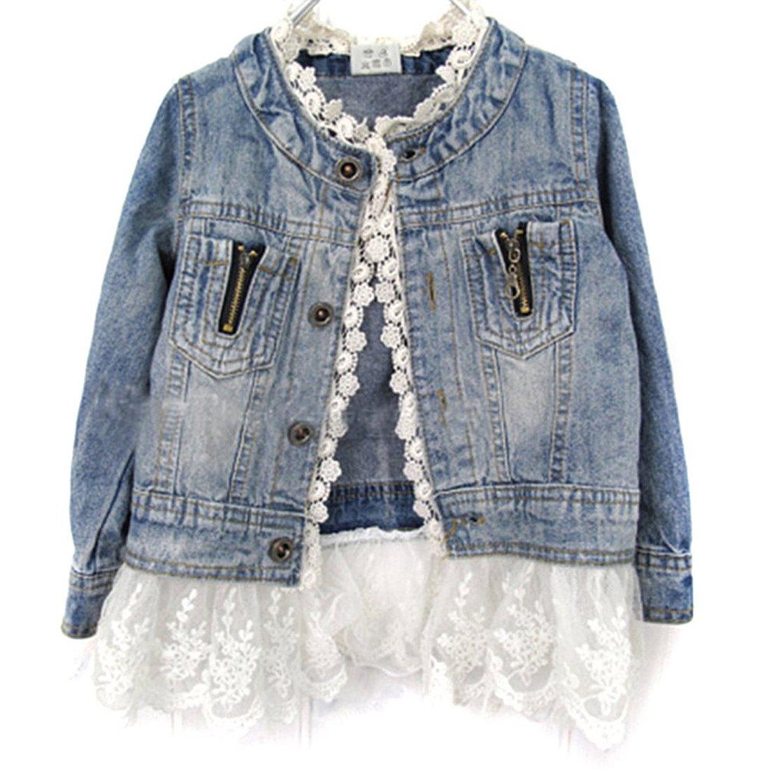 Vikoros Little Girls Button Down Lace Denim Jacket Long Sleeve Collarless Coat