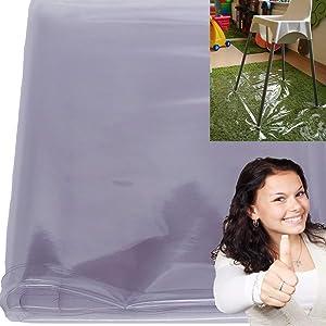Easy Cleaning Baby Splat Mat Waterproof High Chair Floor Mat Feeding Floor Cover (Clear)