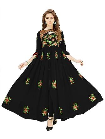6c83296fc0 HOLARA SAREE Women's Clothing Ethnic Wear Pure Georgette Anarkali  Semi-Stiched Freesize Dress With Duppta
