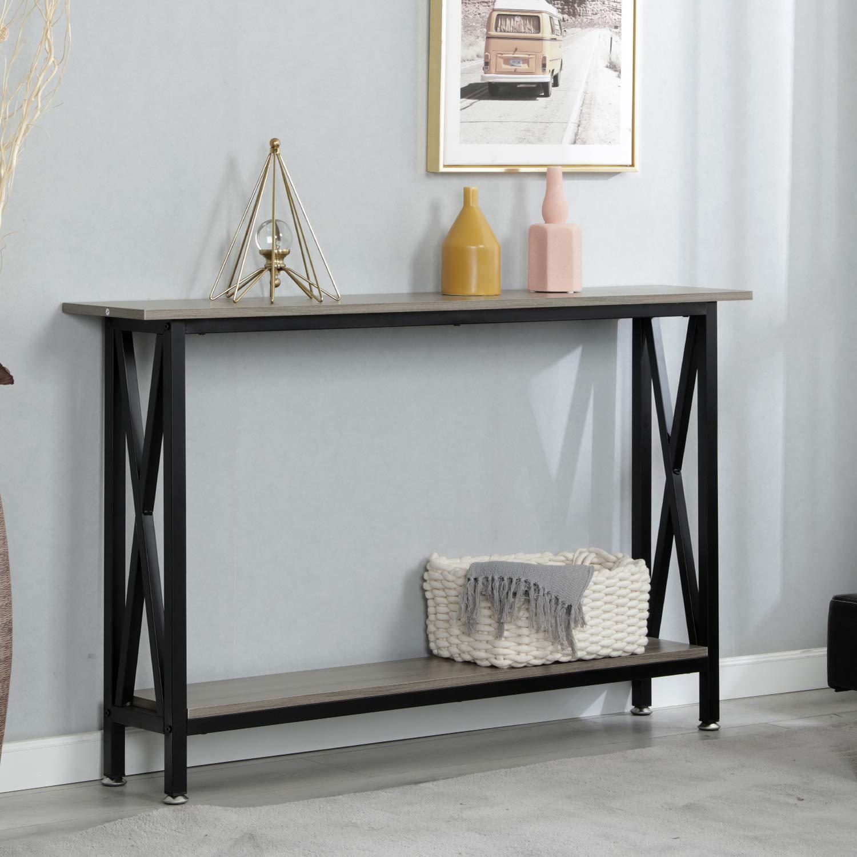 soges Table Console 120 CM avec /Étag/ère pour Salon//Couloir//Entr/ée Structure en M/étal Nior,DX-125-SW