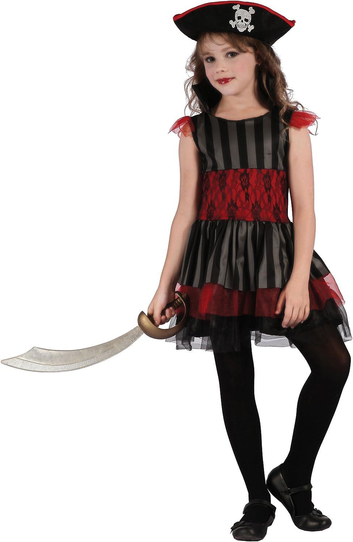 Generique - Disfraz de Pirata roja y Negra niña XS 3-4 años (92 ...