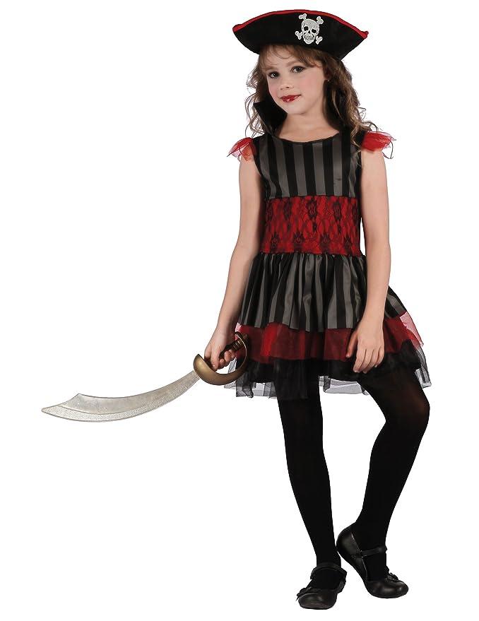 Generique - Disfraz de Pirata roja y Negra niña L 10-12 años ...