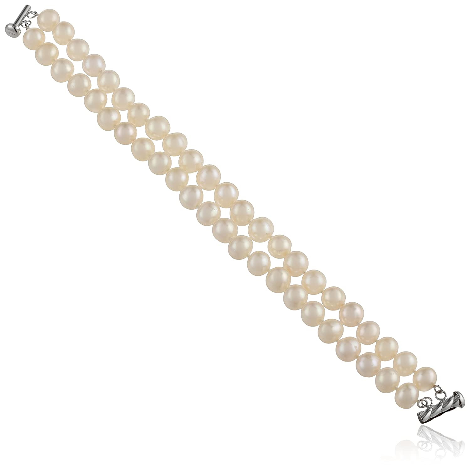 """Sterling Silver 2-Row White Freshwater Cultured A Quality Pearl Bracelet (8.5-9mm), 8"""""""