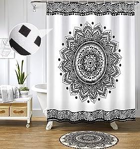 Uphome Boho Mandala Shower Curtain Slubbed Fabric Tassel Shower Curtains Black and White Medallion Shower Curtain Set with Hooks Bohemian Tribal Bathroom Decor Waterproof,72 x 78