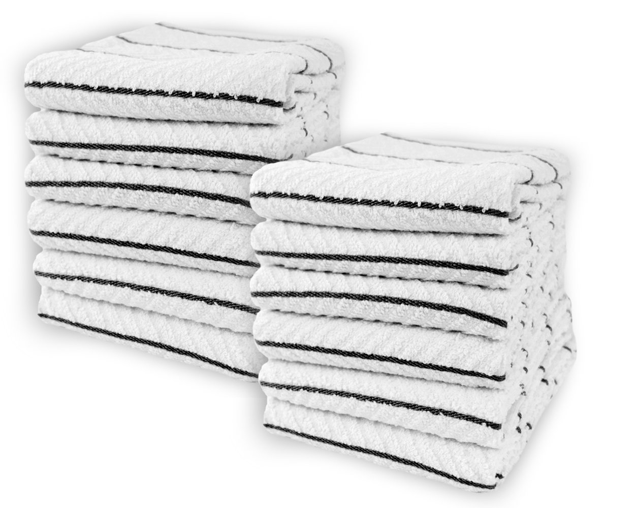 Cotton & Calm Exquisitely Absorbent Kitchen Towels Dish Cloths (12 Pack, 16'' x 26''), White with Black Stripes 100% Cotton Dish Towels, Bar Towels- Crafted for Home, Restaurant, Bar Use