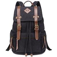 GIM Vintage Canvas Backpacks Mens Rucksacks Unisex Leather Casual Bags Shoulder Backpack for College School Travel Hiking