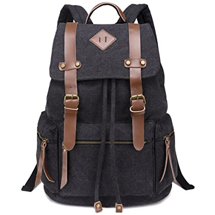 GIM Vintage Canvas Backpacks Mens Rucksacks Unisex Leather Casual Bags  Shoulder Backpack for College School Travel Hiking  Amazon.co.uk  Luggage cb31d8285dcc2