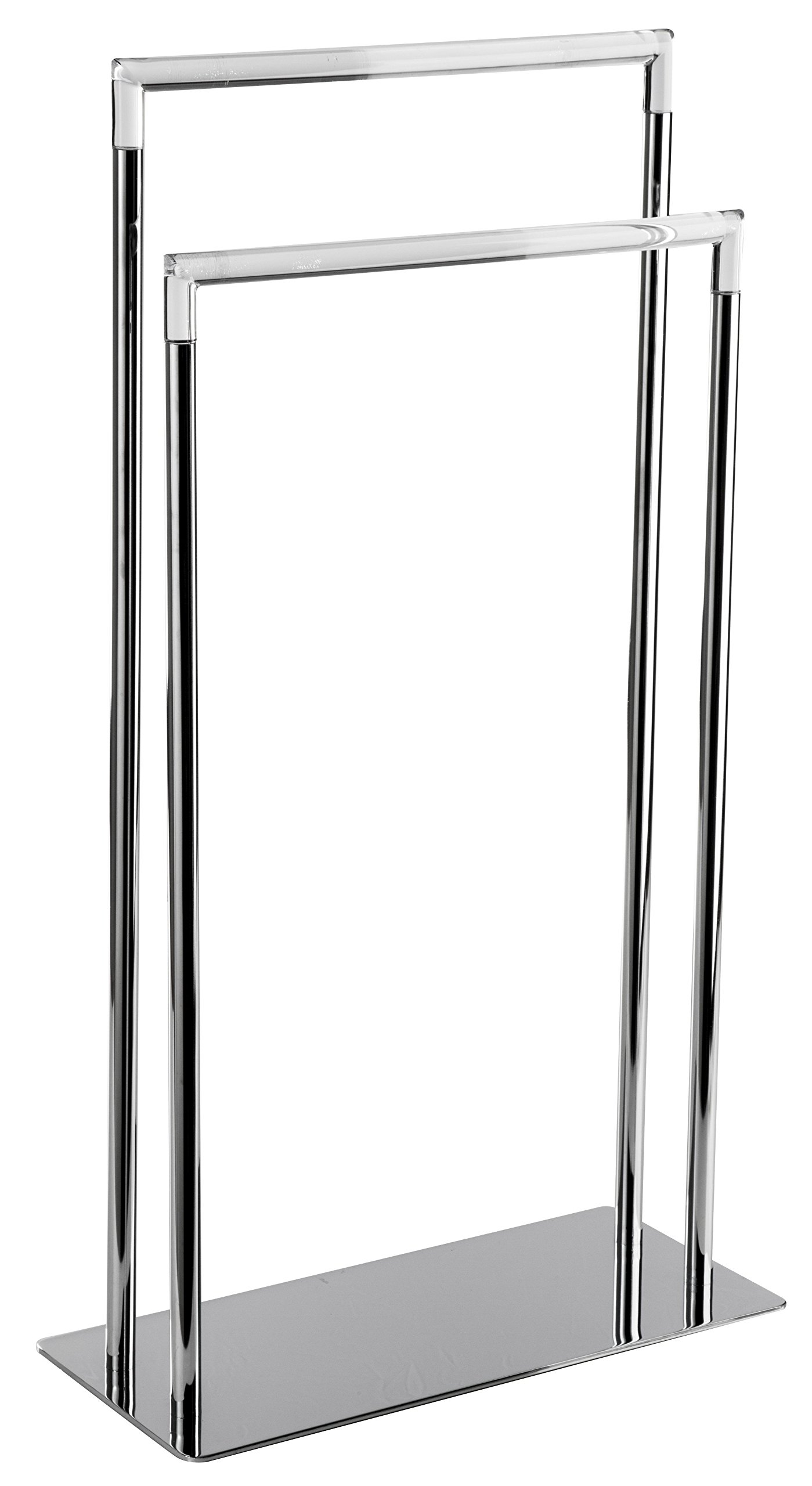 CP Standing Double Towel Rack for Bathroom Spa Towel Hanger, Brass, Acrylic
