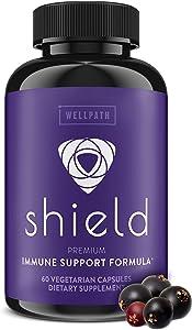 Shield 5-in-1 Immune Support Supplement - Premium Elderberry Immune System Booster with Zinc, Vitamin C, Echinacea, Bee Propolis - 600 mg Sambucus Black Elderberry Pills for Adults - 60 Ct Capsules