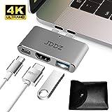 "USB C Hub, JDDZ Type-C to HDMI 4K+USB 3.0+Thunderbolt 3 Port, Aluminum Type C Hub Adapter Digital Multiport HDMI Converter for 2016/2017 MacBook Pro 13"" and 15"""