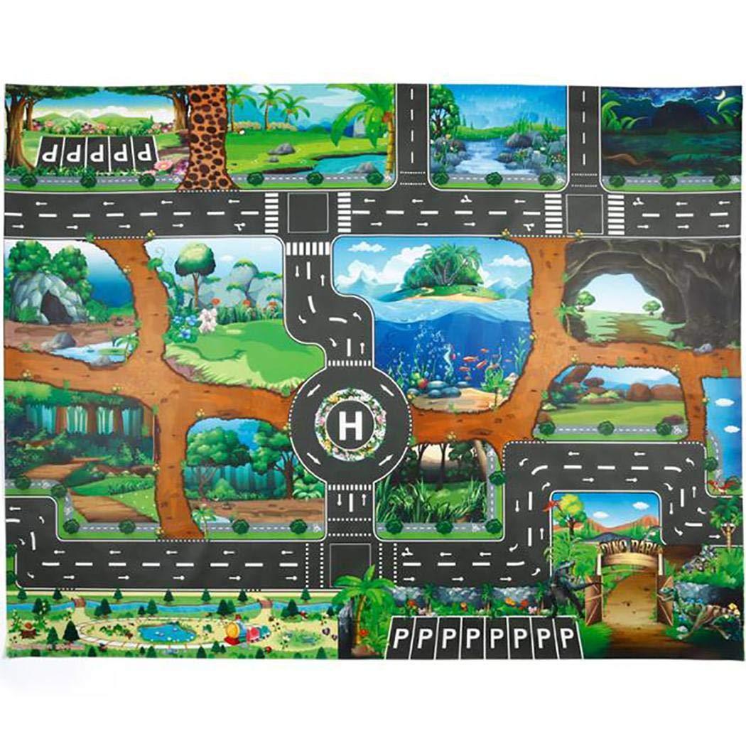 pyouhe Kinder Karte TAFT Tier Spielmatte Baby Road Teppich Home Decor P/ädagogisches Spielzeug Teppiche /& L/äufer