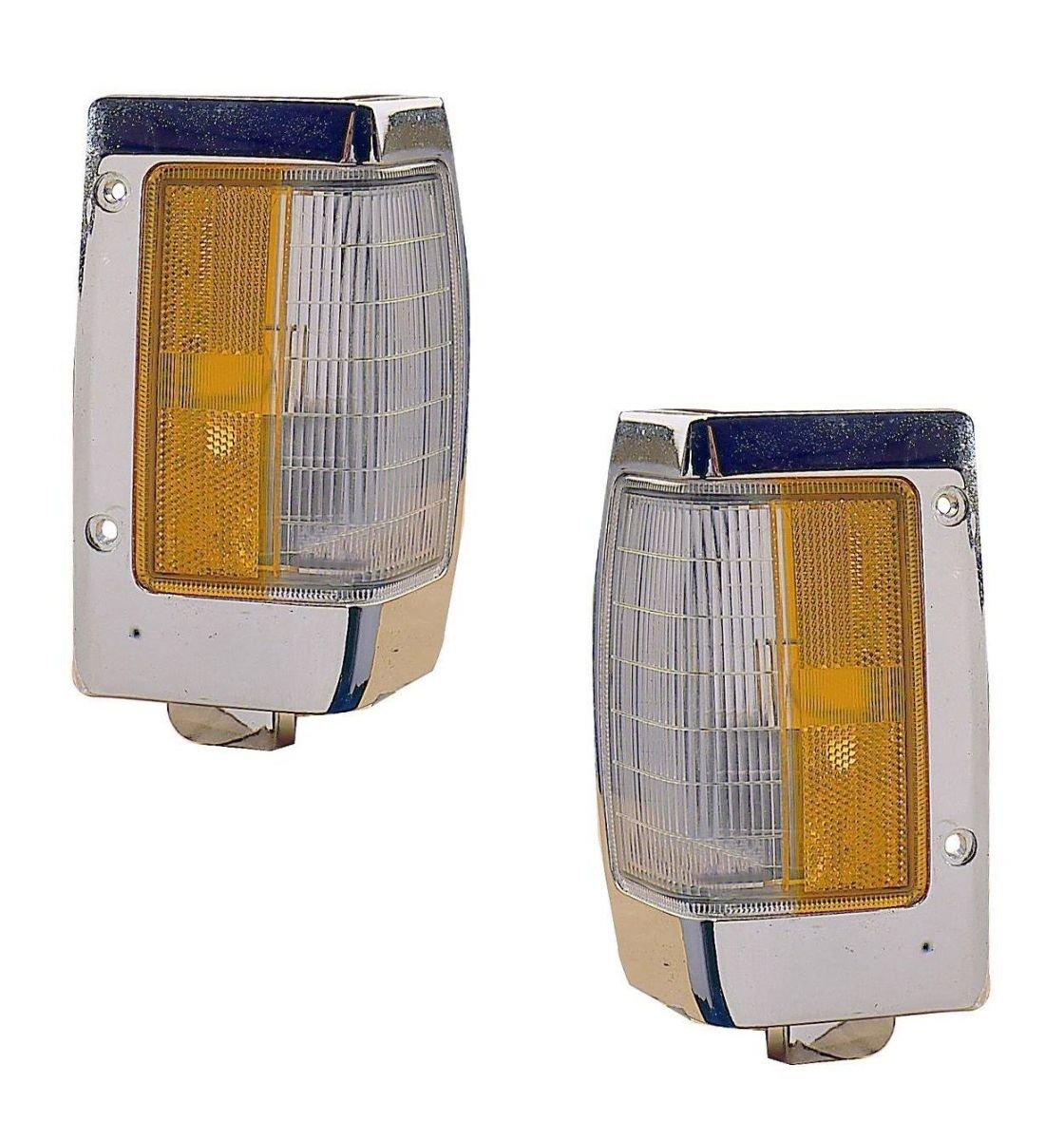 1990-1997 Nissan D21 Hardbody Pickup Truck Turn Signal Marker Lamp (with Chrome Trim) Corner Park Light Pair Set Left Driver And Right Passenger Side (1990 90 1991 91 1992 92 1993 93 1994 94 1995 95 1996 96 1997 97) Aftermarket