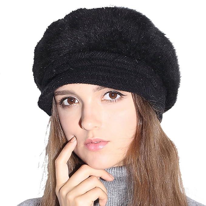 618bf7ea13a Winter Hat Warm Knit Snow Ski Womens Beanie Hat Cap with Visor (Black)