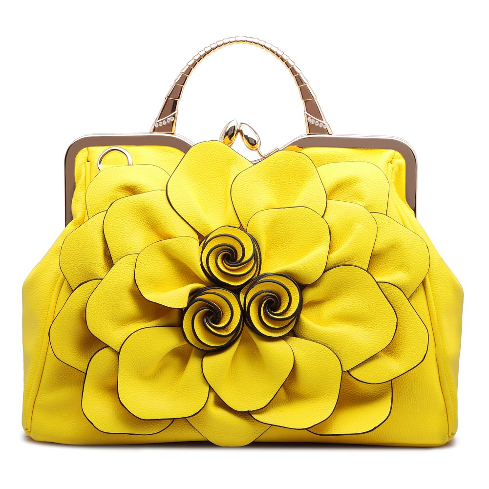 Ruiatoo Fashion Handbag for Women Flower PU Leather Bag Party Evening Clutch Yellow Purse Satchel Tote